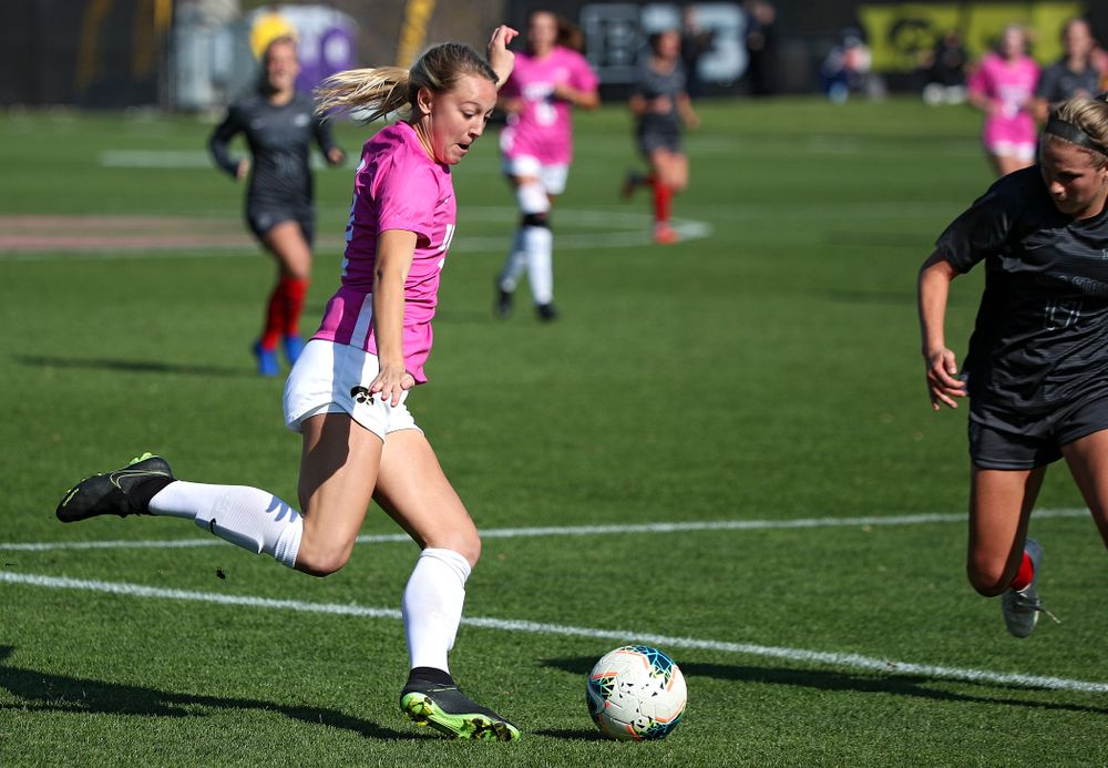Iowa midfielder Hailey Rydberg (2) lines up a shot during the first half of their match at the Iowa Soccer Complex in Iowa City on Sunday, Oct 27, 2019. (Stephen Mally/hawkeyesports.com)
