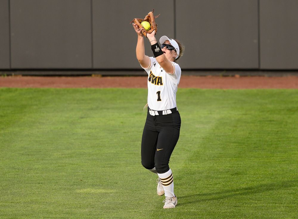 Iowa right fielder Cameron Cecil (1) pulls in a fly ball for an out during the third inning of their game against Ohio State at Pearl Field in Iowa City on Friday, May. 3, 2019. (Stephen Mally/hawkeyesports.com)