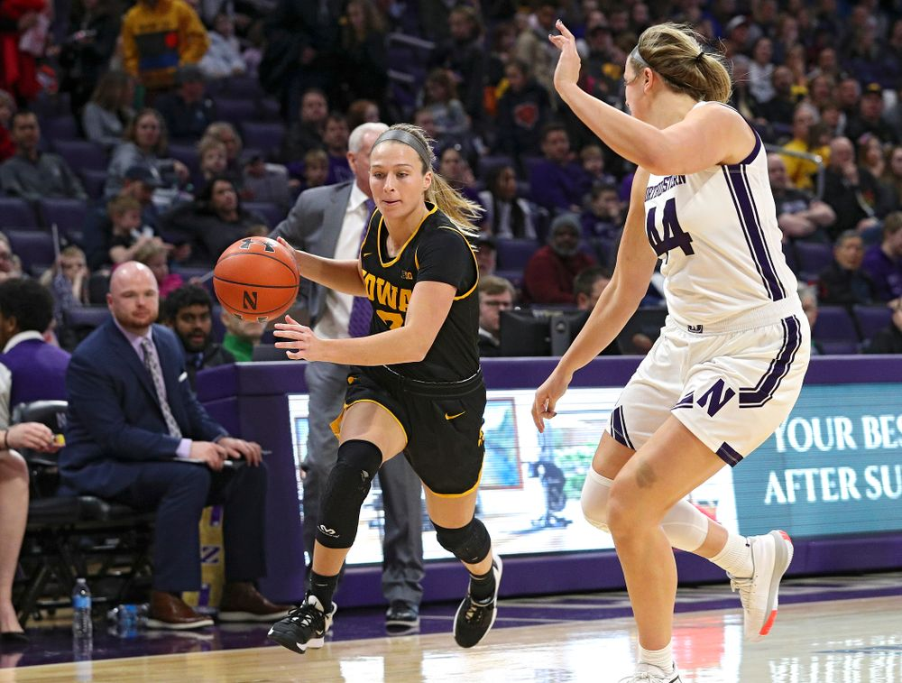Iowa Hawkeyes guard Makenzie Meyer (3) drives with the ball during the first quarter of their game at Welsh-Ryan Arena in Evanston, Ill. on Sunday, January 5, 2020. (Stephen Mally/hawkeyesports.com)