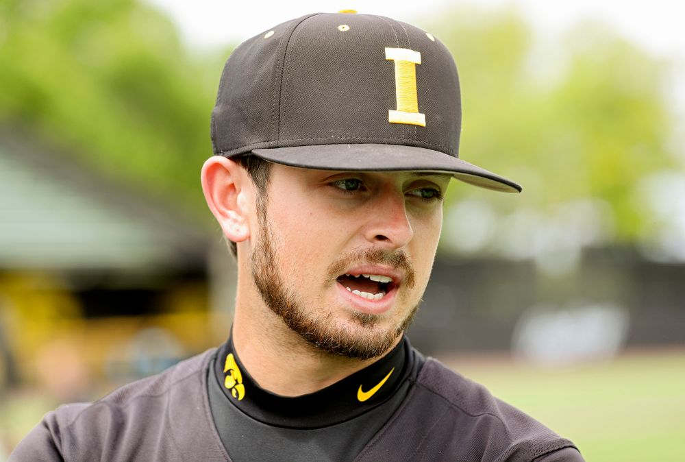 Iowa's Mitchell Boe answers questions from the media at Duane Banks Field in Iowa City on Monday, May 20, 2019. (Stephen Mally/hawkeyesports.com)