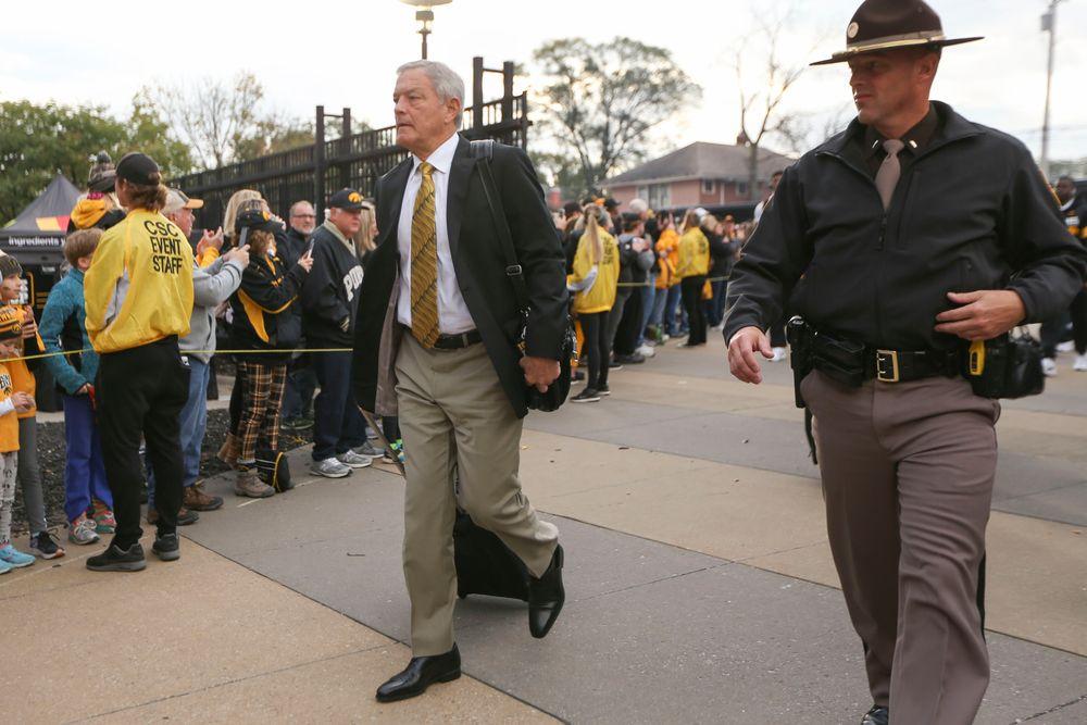 Iowa Hawkeyes head coach Kirk Ferentz during Iowa football vs Purdue on Saturday, October 19, 2019 at Kinnick Stadium. (Lily Smith/hawkeyesports.com)