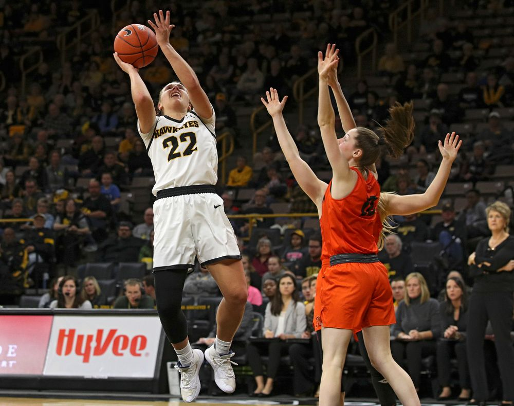 Iowa guard Kathleen Doyle (22) makes a basket during the fourth quarter of their overtime win against Princeton at Carver-Hawkeye Arena in Iowa City on Wednesday, Nov 20, 2019. (Stephen Mally/hawkeyesports.com)