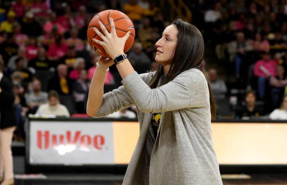 Former player Bethany Doolittle shoots free throws during the Iowa Hawkeyes game against the Wisconsin Badgers Sunday, February 16, 2020 at Carver-Hawkeye Arena. (Brian Ray/hawkeyesports.com)