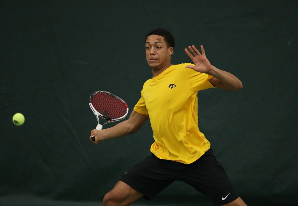 Oliver Okonkwo against the Butler Bulldogs Sunday, January 27, 2019 at the Hawkeye Tennis and Recreation Complex. (Brian Ray/hawkeyesports.com)