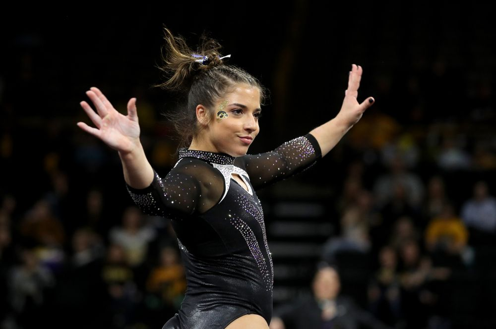 Iowa's Ariana Agrapides competes on the floor against Michigan State Saturday, February 1, 2020 at Carver-Hawkeye Arena. (Brian Ray/hawkeyesports.com)