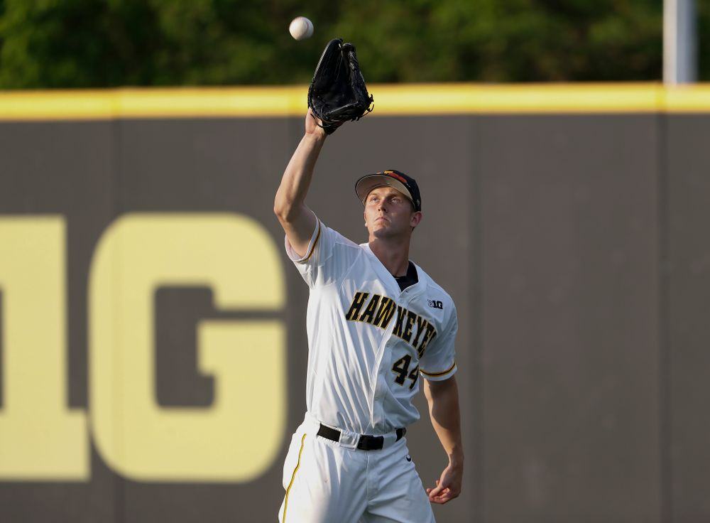 Iowa Hawkeyes outfielder Robert Neustrom (44) against the Penn State Nittany Lions  Thursday, May 17, 2018 at Duane Banks Field. (Brian Ray/hawkeyesports.com)