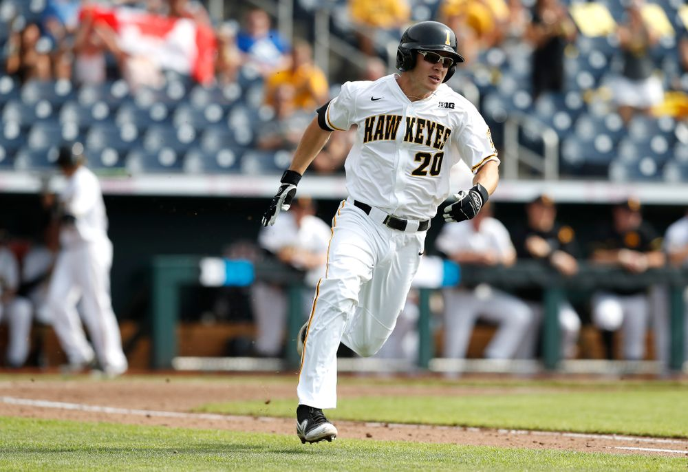 Iowa Hawkeyes designated hitter Austin Guzzo (20) against the Ohio State Buckeyes in the second round of the Big Ten Baseball Tournament  Thursday, May 24, 2018 at TD Ameritrade Park in Omaha, Neb. (Brian Ray/hawkeyesports.com)