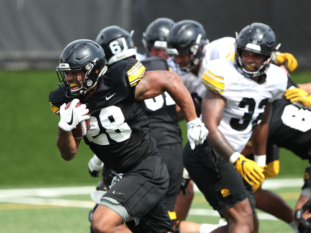 Iowa Hawkeyes running back Toren Young (28) during Fall Camp Practice No. 4 Monday, August 5, 2019 at the Ronald D. and Margaret L. Kenyon Football Practice Facility. (Brian Ray/hawkeyesports.com)