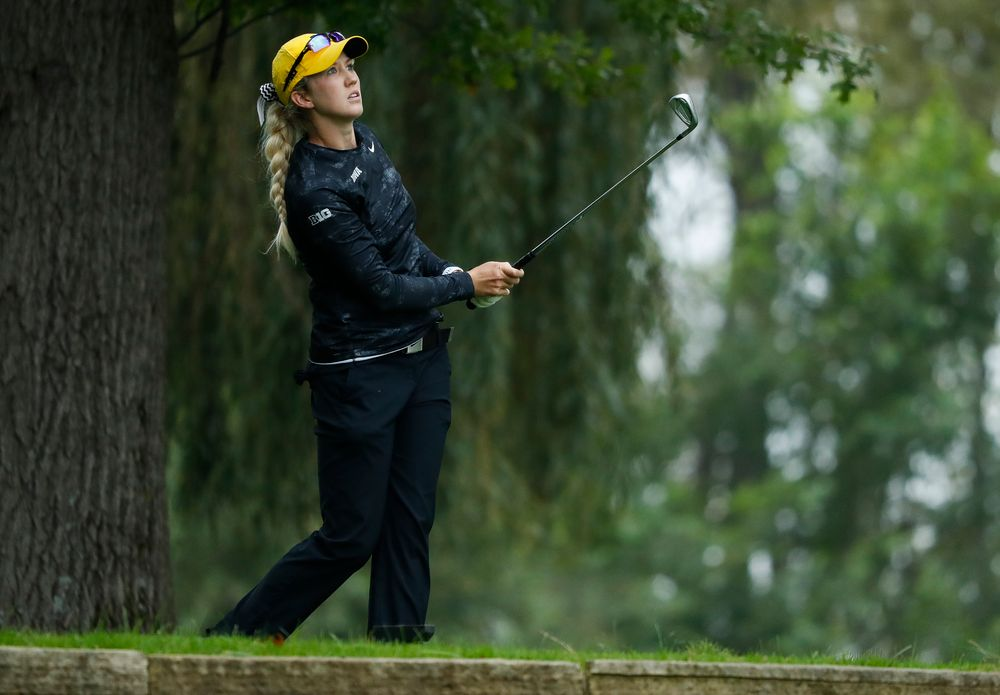 Iowa's Shawn Rennegarbe tees off during the final round of the Diane Thomason Invitational at Finkbine Golf Course on September 30, 2018. (Tork Mason/hawkeyesports.com)