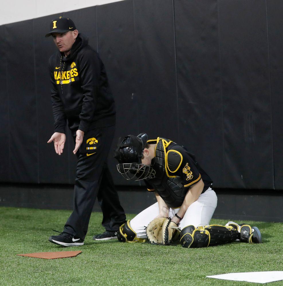 Marty Sutherland at first baseball practice on Jan. 25, 2019. (Darren Miller/hawkeyesports.com)
