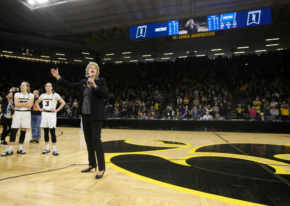 Iowa Hawkeyes head coach Lisa Bluder talks to the crowd after winning their second round game in the 2019 NCAA Women's Basketball Tournament at Carver Hawkeye Arena in Iowa City on Sunday, Mar. 24, 2019. (Stephen Mally for hawkeyesports.com)