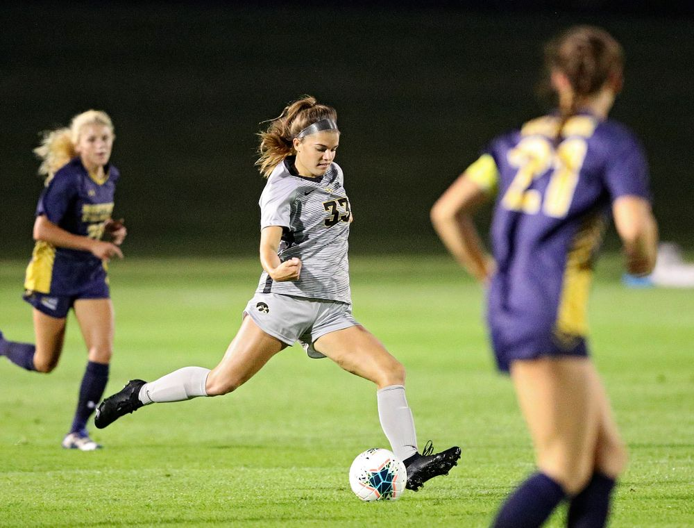 Iowa defender Riley Burns (33) passes during the first half of their match at the Iowa Soccer Complex in Iowa City on Friday, Sep 13, 2019. (Stephen Mally/hawkeyesports.com)