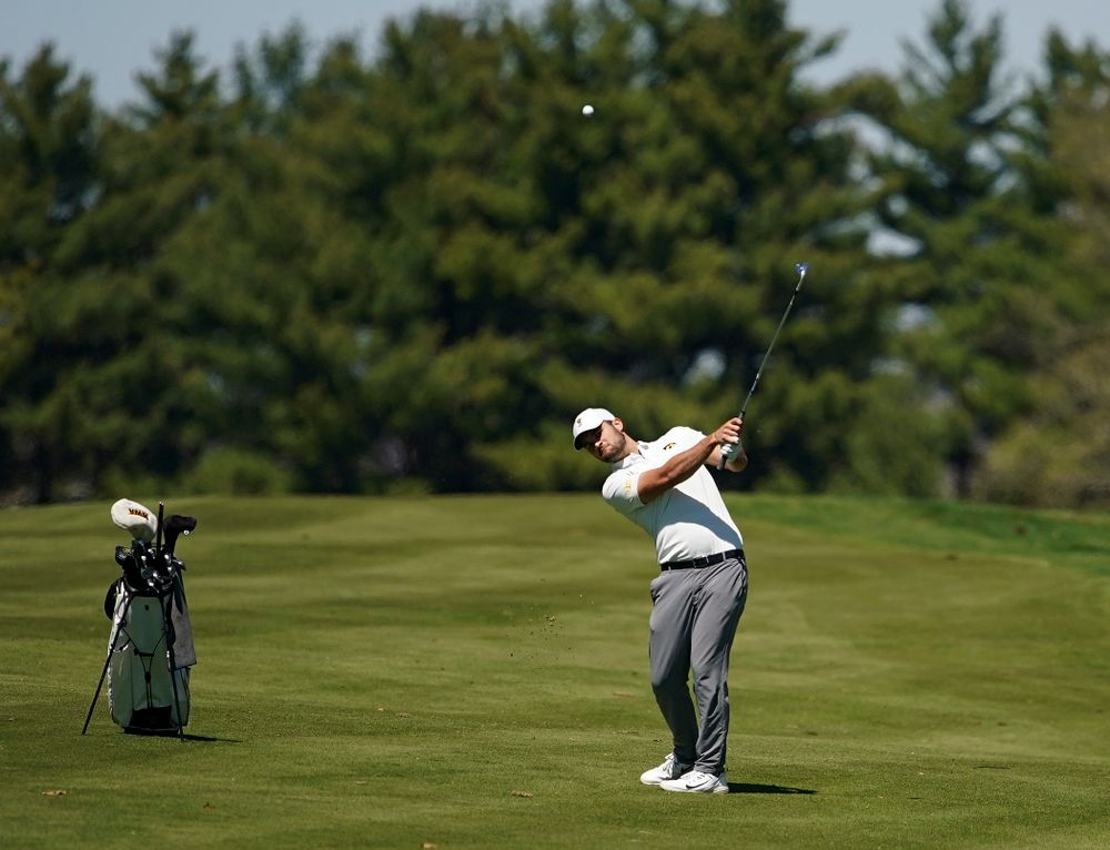 Iowa's Gonzalo Leal hits from the fairway during the first round of the Hawkeye Invitational at Finkbine Golf Course in Iowa City on Saturday, Apr. 20, 2019. (Stephen Mally/hawkeyesports.com)