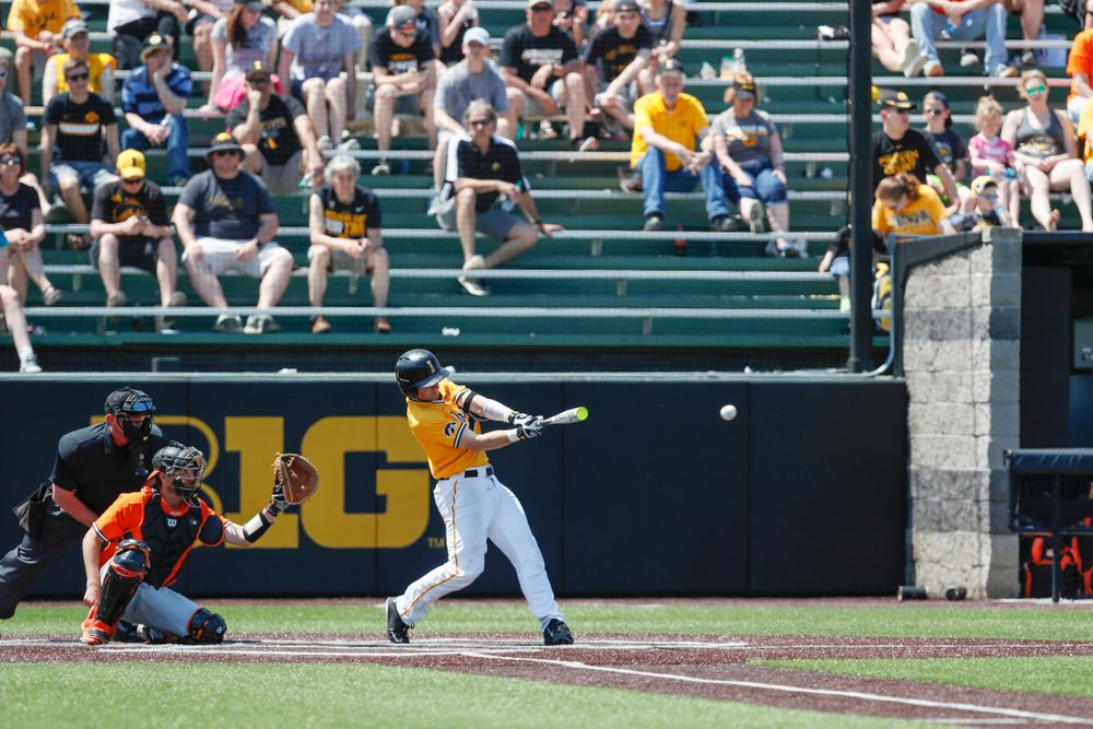 Iowa Hawkeyes catcher Tyler Cropley (5) doubles against the Oklahoma State Cowboys Sunday, May 6, 2018 at Duane Banks Field. (Brian Ray/hawkeyesports.com)