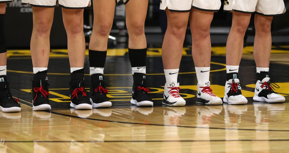 The Iowa Hawkeye wear red laces against the Purdue Boilermakers Sunday, January 27, 2019 at Carver-Hawkeye Arena. (Brian Ray/hawkeyesports.com)