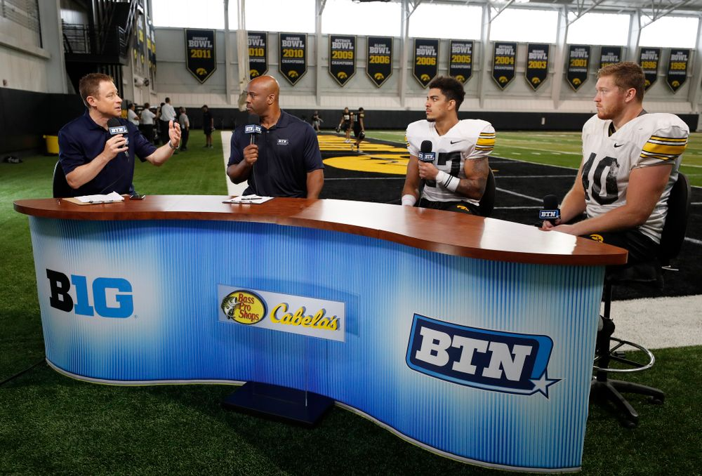 Iowa Hawkeyes defensive back Amani Hooker (27) and defensive end Parker Hesse (40) on the Big Ten Network set Monday, August 20, 2018 at the Hansen Football Performance Center. (Brian Ray/hawkeyesports.com)