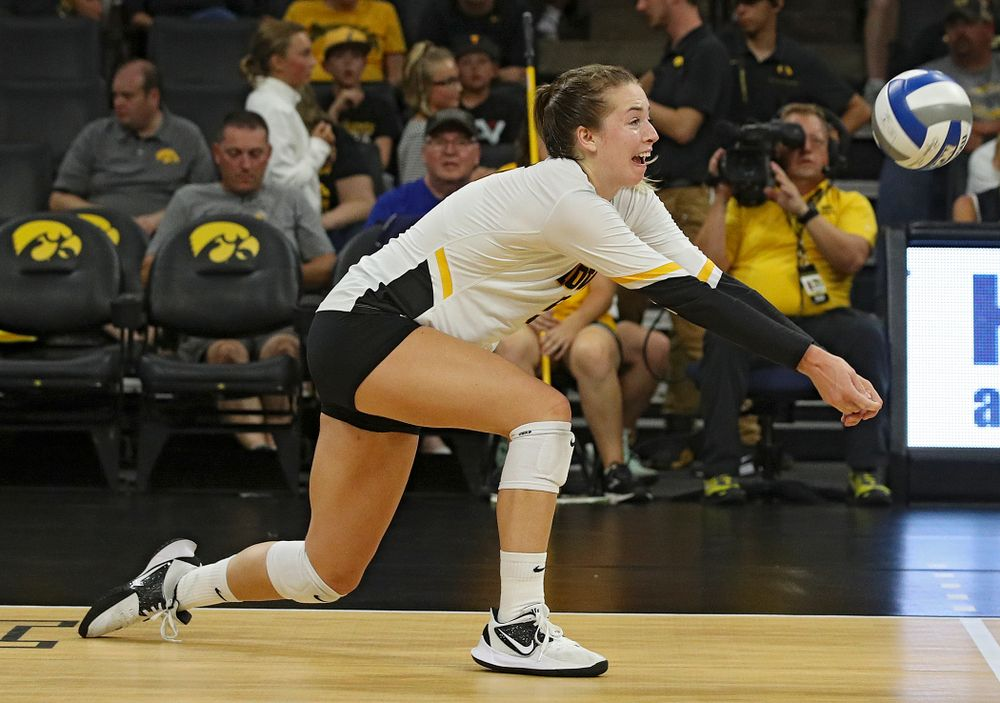Iowa's Meghan Buzzerio (5) gets a dig during their Big Ten/Pac-12 Challenge match at Carver-Hawkeye Arena in Iowa City on Saturday, Sep 7, 2019. (Stephen Mally/hawkeyesports.com)