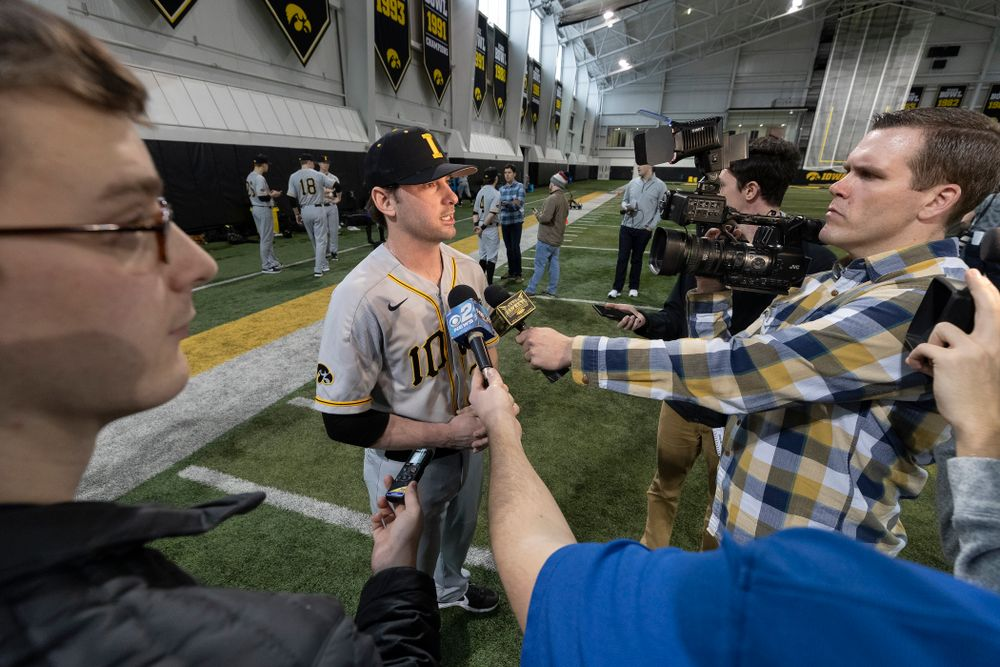 Iowa Hawkeyes Chris Whelan (28) answers questions from reporters during the team's annual media day Tuesday, February 5, 2019 in the Indoor Practice Facility. (Brian Ray/hawkeyesports.com)