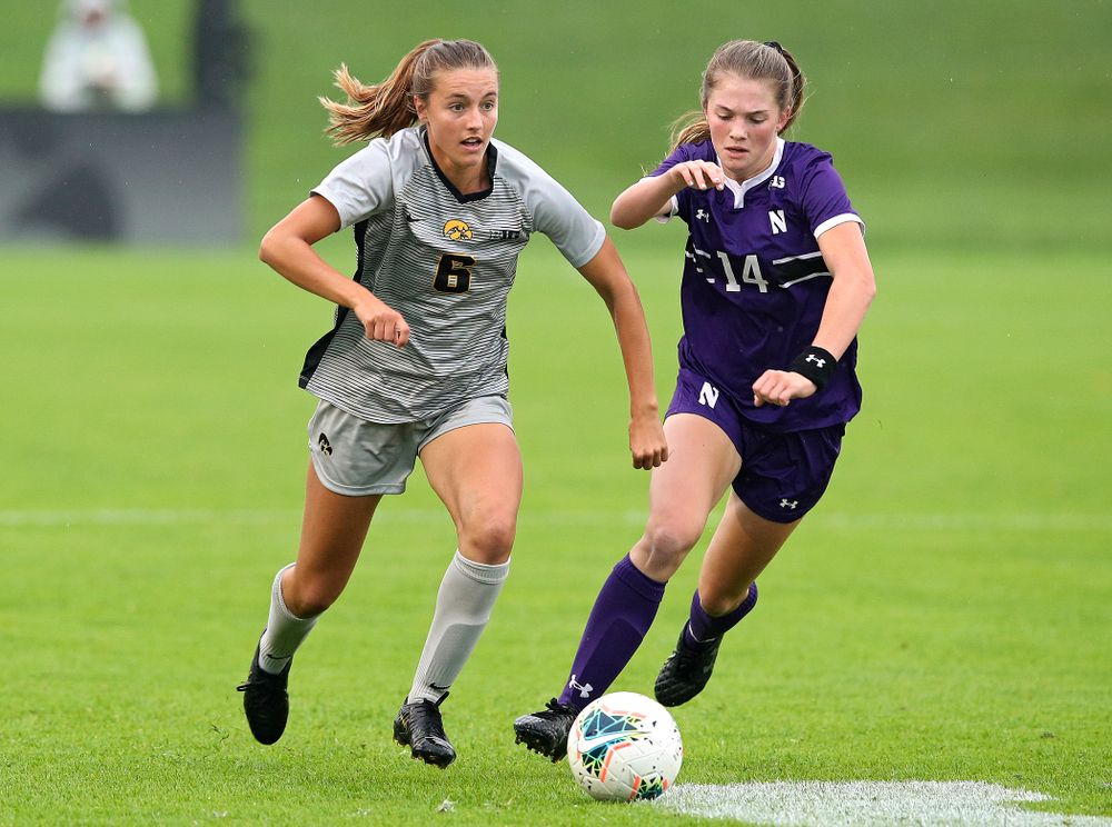 Iowa midfielder Isabella Blackman (6) moves with the ball during the first half of their match at the Iowa Soccer Complex in Iowa City on Sunday, Sep 29, 2019. (Stephen Mally/hawkeyesports.com)