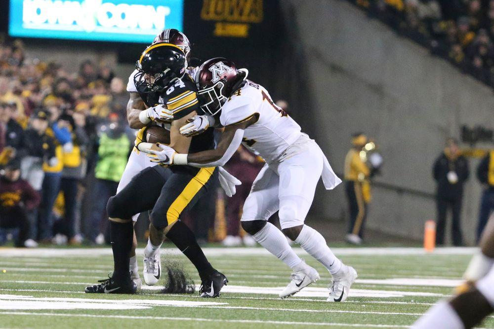 Iowa Hawkeyes tight end Sam LaPorta (84) during Iowa football vs Minnesota on Saturday, November 16, 2019 at Kinnick Stadium. (Lily Smith/hawkeyesports.com)