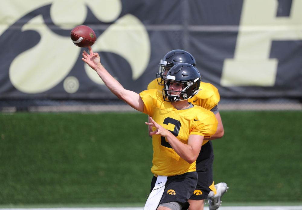 Iowa Hawkeyes quarterback Peyton Mansell (2) during Fall Camp Practice No. 4 Monday, August 5, 2019 at the Ronald D. and Margaret L. Kenyon Football Practice Facility. (Brian Ray/hawkeyesports.com)