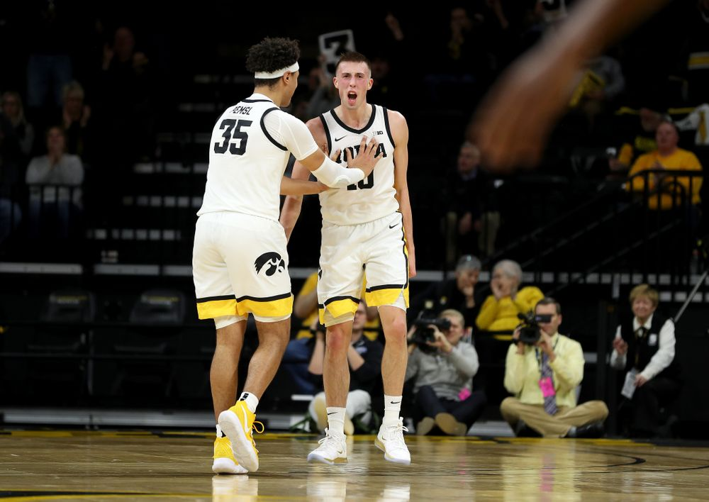 Iowa Hawkeyes guard Joe Wieskamp (10) celebrates after making a three point basket at the end of the first half against the Maryland Terrapins Friday, January 10, 2020 at Carver-Hawkeye Arena. (Brian Ray/hawkeyesports.com)