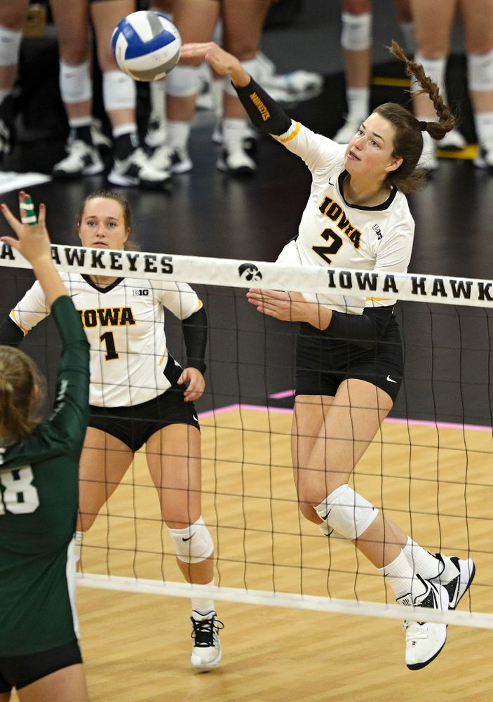 Iowa's Courtney Buzzerio (2) lines up a shot during the first set of their volleyball match at Carver-Hawkeye Arena in Iowa City on Sunday, Oct 13, 2019. (Stephen Mally/hawkeyesports.com)