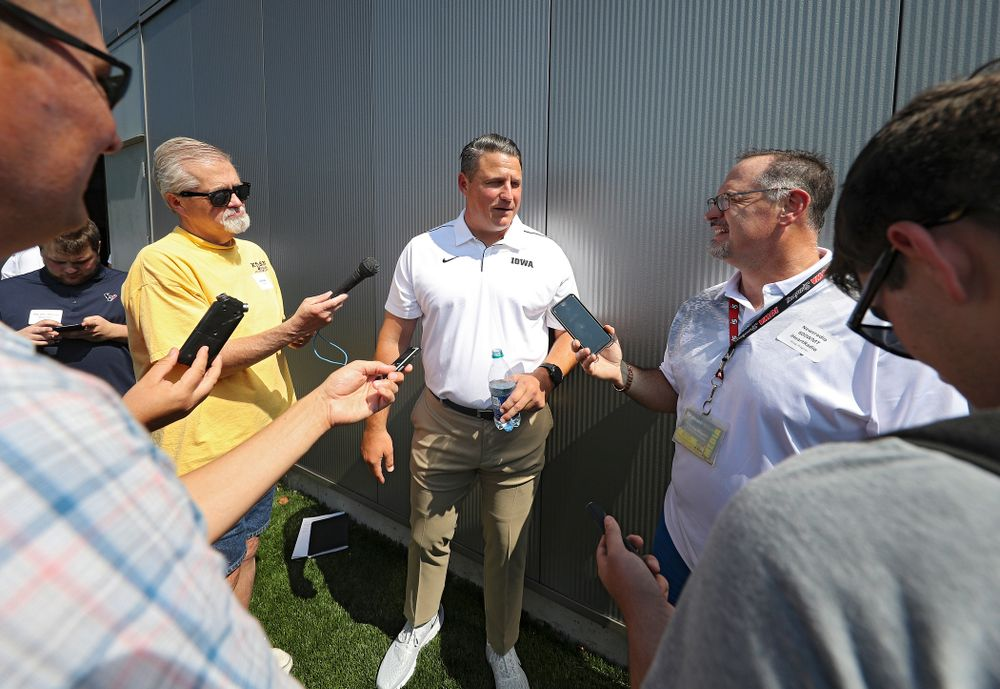 Iowa Hawkeyes offensive coordinator Brian Ferentz answers questions during Iowa Football Media Day at the Hansen Football Performance Center in Iowa City on Friday, Aug 9, 2019. (Stephen Mally/hawkeyesports.com)