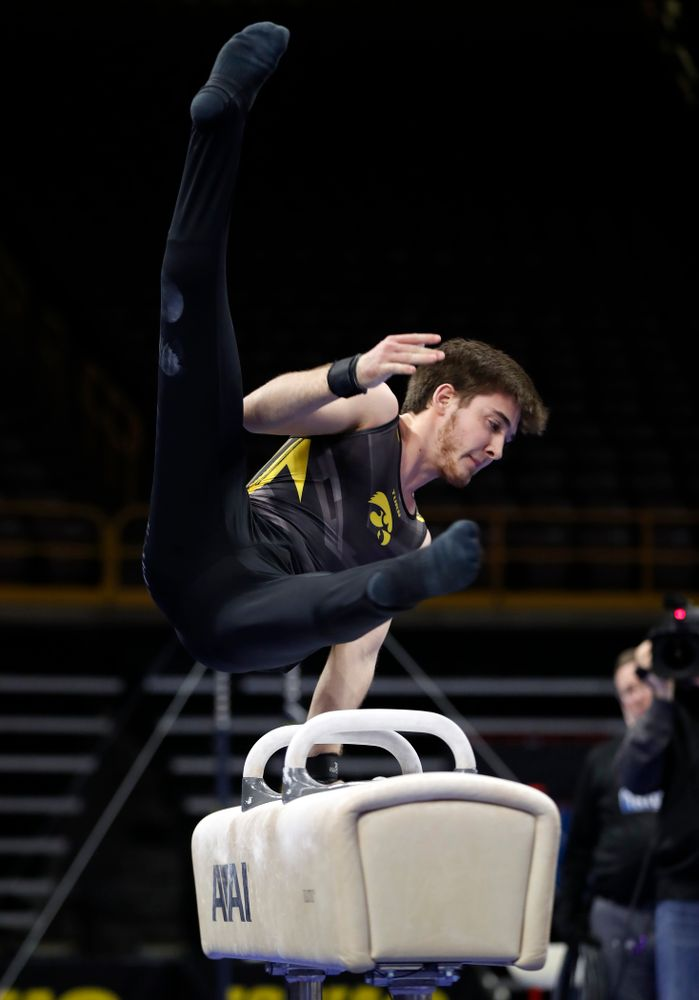 Iowa's Kevin Johnson competes on the pommel horse