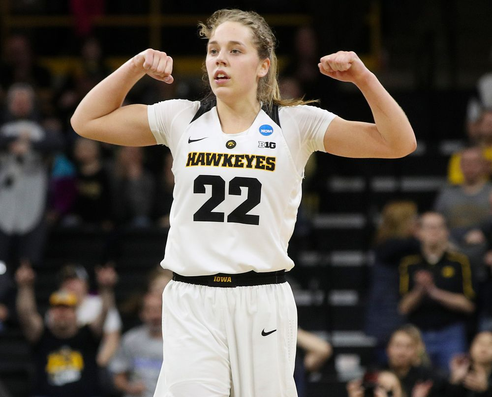 Iowa Hawkeyes guard Kathleen Doyle (22) is pumped up during the third quarter of their second round game in the 2019 NCAA Women's Basketball Tournament at Carver Hawkeye Arena in Iowa City on Sunday, Mar. 24, 2019. (Stephen Mally for hawkeyesports.com)