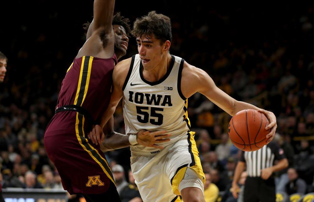Iowa Hawkeyes forward Luka Garza (55) against the Minnesota Golden Gophers Monday, December 9, 2019 at Carver-Hawkeye Arena. (Brian Ray/hawkeyesports.com)