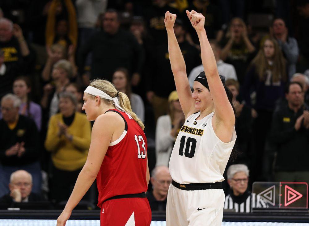 Iowa Hawkeyes forward Megan Gustafson (10) celebrates their victory against the Nebraska Cornhuskers Thursday, January 3, 2019 at Carver-Hawkeye Arena. (Brian Ray/hawkeyesports.com)