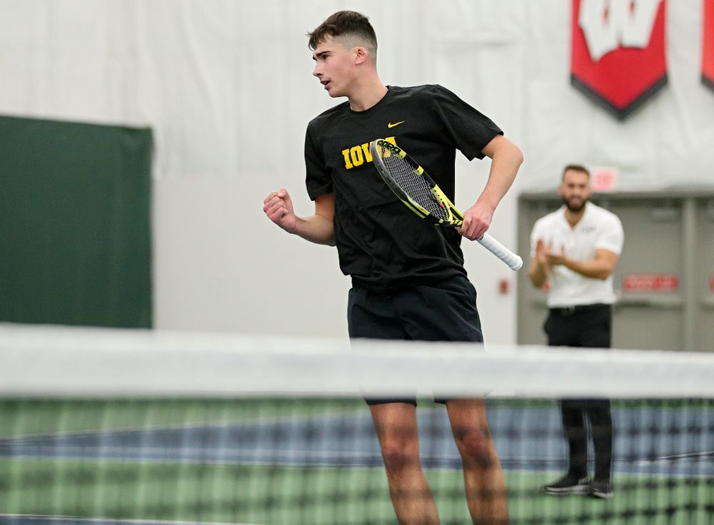 Iowa's Matt Clegg celebrates a point during his doubles match at the Hawkeye Tennis and Recreation Complex in Iowa City on Thursday, January 16, 2020. (Stephen Mally/hawkeyesports.com)