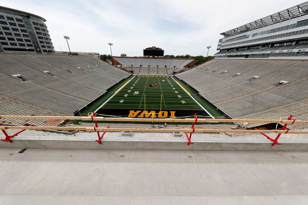 The mid-field view from the lower premium seating area on the third deck in the new north end zone Wednesday, June 6, 2018 at Kinnick Stadium. (Brian Ray/hawkeyesports.com)