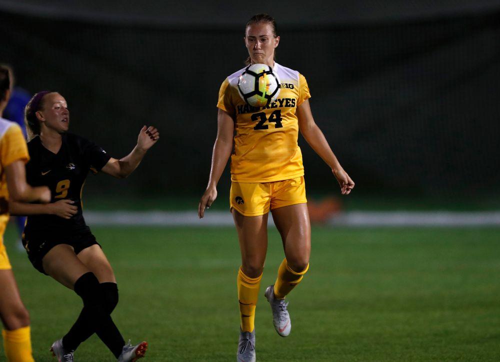 Iowa Hawkeyes Sara Wheaton (24) against the Missouri Tigers Friday, August 17, 2018 at the Iowa Soccer Complex. (Brian Ray/hawkeyesports.com)