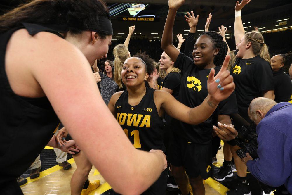 Iowa Hawkeyes guard Tania Davis (11) against the Iowa State Cyclones in the Iowa Corn Cy-Hawk Series Wednesday, December 5, 2018 at Carver-Hawkeye Arena. (Brian Ray/hawkeyesports.com)