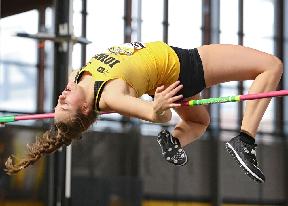 Iowa's Kelli DeGeorge competes in the women's high jump event during the Jimmy Grant Invitational at the Recreation Building in Iowa City on Saturday, December 14, 2019. (Stephen Mally/hawkeyesports.com)