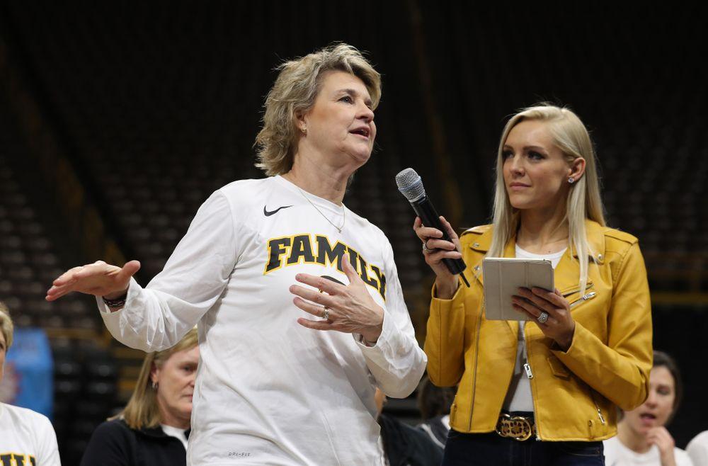 Iowa Hawkeyes head coach Lisa Bluder during a celebration of their Big Ten Women's Basketball Tournament championship Monday, March 18, 2019 at Carver-Hawkeye Arena. (Brian Ray/hawkeyesports.com)