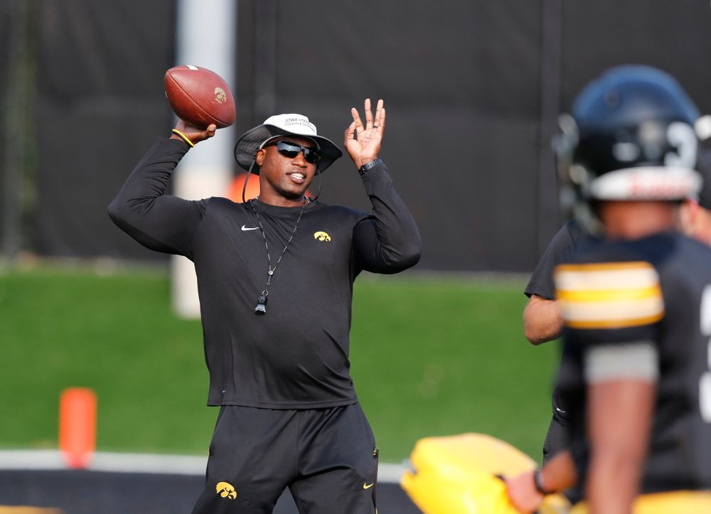 against the Iowa Hawkeyes wide receivers coach Kelton Copeland during camp practice No. 16 Tuesday, August 21, 2018 at the Hansen Football Performance Center. (Brian Ray/hawkeyesports.com)