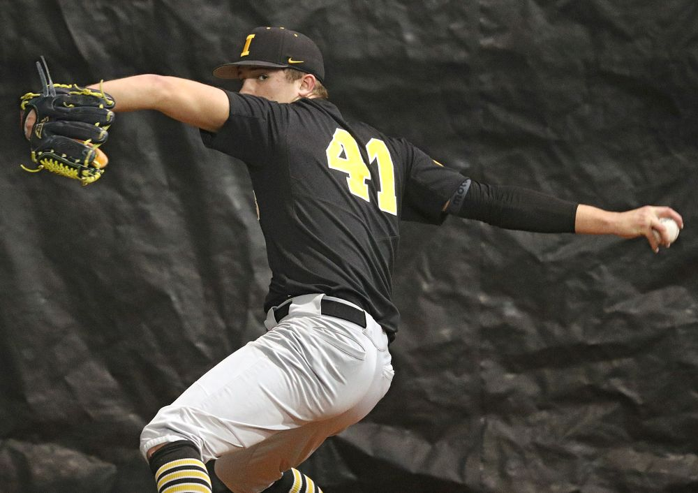 Iowa Hawkeyes pitcher Sean Barnard (41) delivers during practice at the Hansen Football Performance Center in Iowa City on Friday, January 24, 2020. (Stephen Mally/hawkeyesports.com)