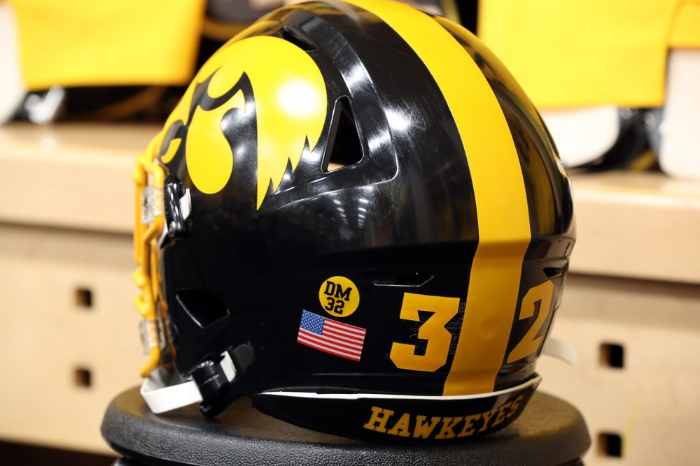 The Iowa Hawkeyes will wear a sticker in remembrance of former player Derrick Mitchell Jr. against the Penn State Nittany Lions Saturday, October 12, 2019 at Kinnick Stadium. (Brian Ray/hawkeyesports.com)