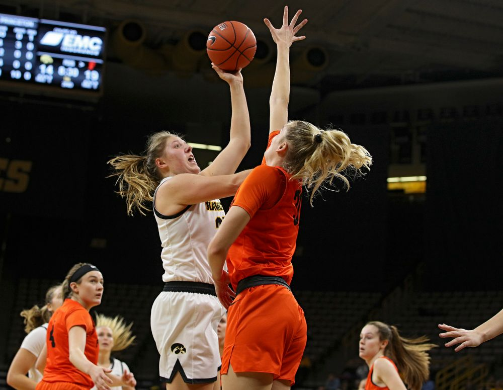 Iowa forward/center Monika Czinano (25) scores a basket during the second quarter of their overtime win against Princeton at Carver-Hawkeye Arena in Iowa City on Wednesday, Nov 20, 2019. (Stephen Mally/hawkeyesports.com)