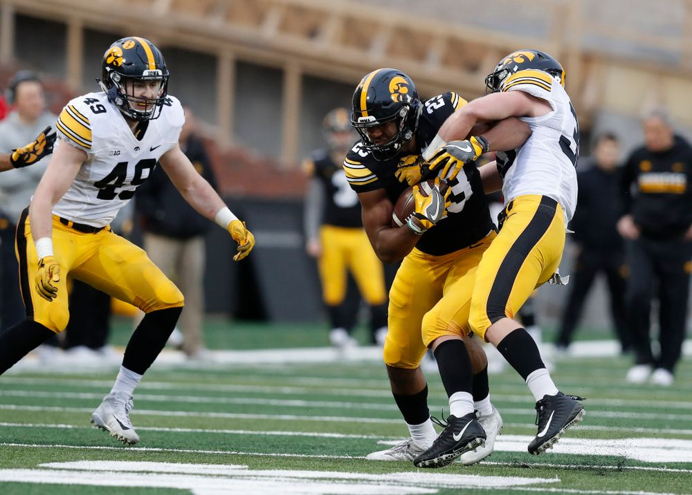 Iowa Hawkeyes wide receiver Dominique Dafney (23) during the final spring practice Friday, April 20, 2018 at Kinnick Stadium. (Brian Ray/hawkeyesports.com)
