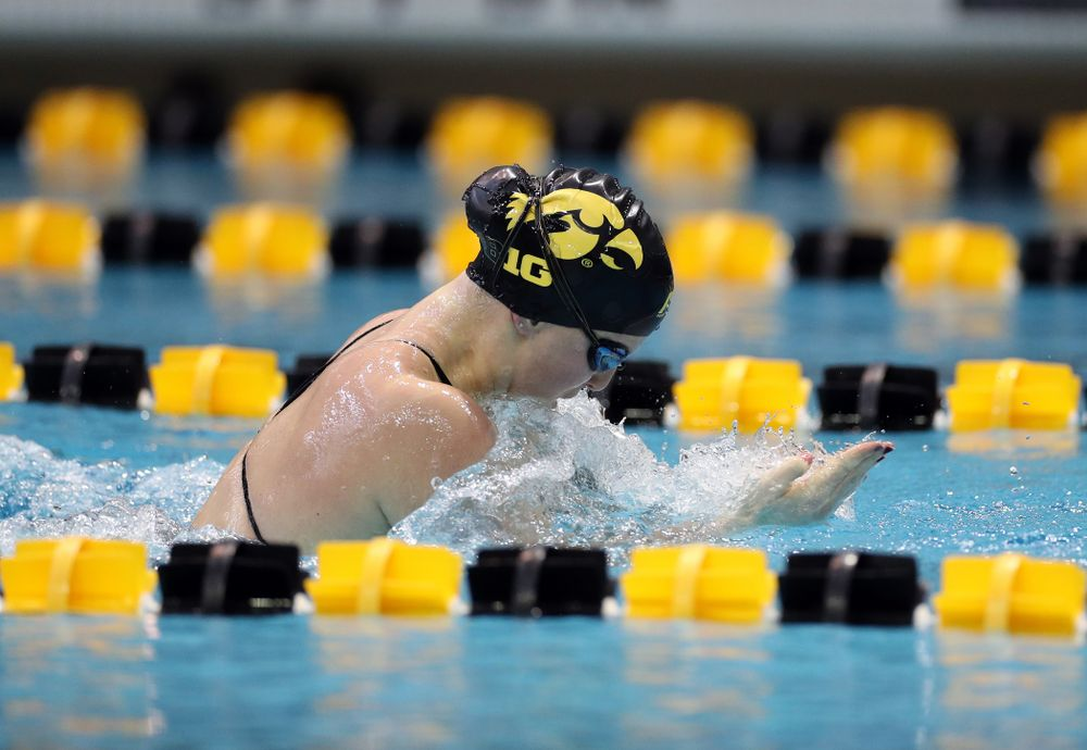 IowaÕs Christina Crane swims the 100 yard breaststroke against the Michigan Wolverines Friday, November 1, 2019 at the Campus Recreation and Wellness Center. (Brian Ray/hawkeyesports.com)