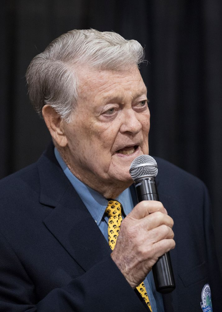 Legendary Hawkeye Football Coach Hayden Fry speaks before the unveiling of his statue during Fry Fest Friday, September 2, 2016 at the Coralville Marriott Hotel and Conference Center. (Brian Ray/hawkeyesports.com)