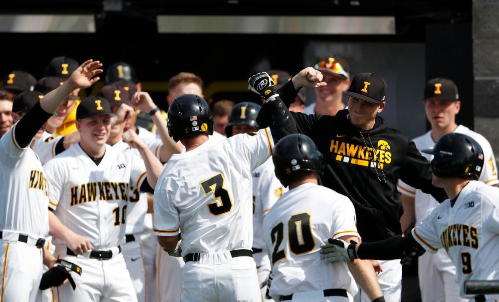 Iowa Hawkeyes infielder Matt Hoeg (3) against the Missouri Tigers Tuesday, May 1, 2018 at Duane Banks Field. (Brian Ray/hawkeyesports.com)