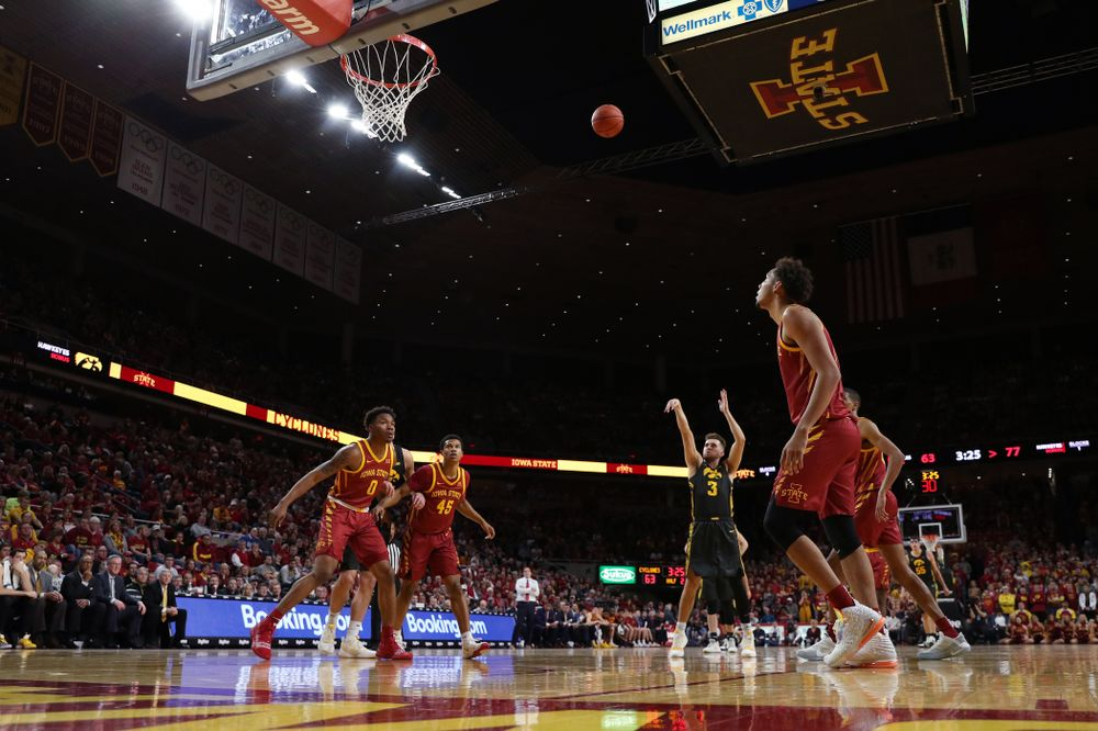 Iowa Hawkeyes guard Jordan Bohannon (3) shoots free throws late in the game against the Iowa State Cyclones Thursday, December 12, 2019 at Hilton Coliseum in Ames, Iowa(Brian Ray/hawkeyesports.com)