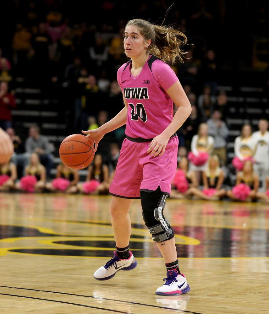 Iowa Hawkeyes guard Kate Martin (20) against the Wisconsin Badgers Sunday, February 16, 2020 at Carver-Hawkeye Arena. (Brian Ray/hawkeyesports.com)