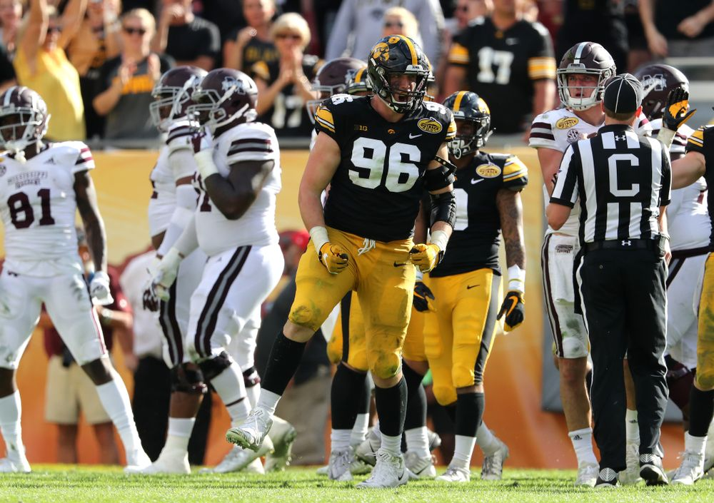 Iowa Hawkeyes defensive end Matt Nelson (96) during their Outback Bowl Tuesday, January 1, 2019 at Raymond James Stadium in Tampa, FL. (Brian Ray/hawkeyesports.com)