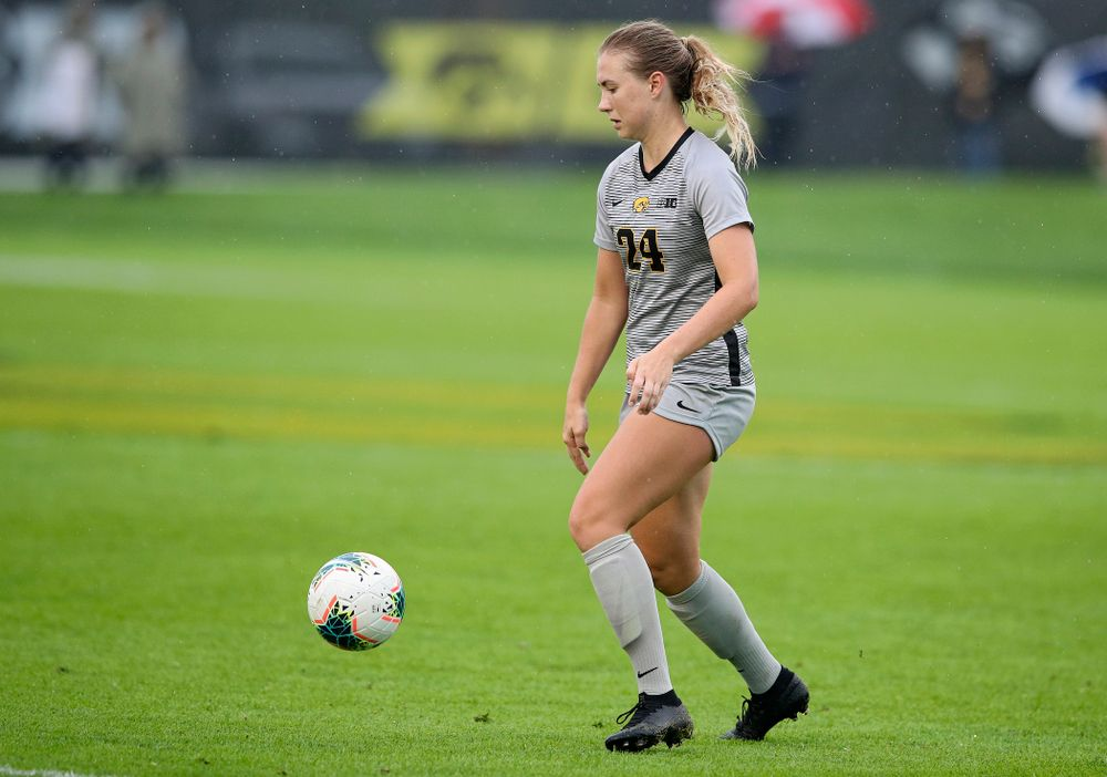Iowa defender Sara Wheaton (24) eyes the ball during the first half of their match at the Iowa Soccer Complex in Iowa City on Sunday, Sep 29, 2019. (Stephen Mally/hawkeyesports.com)